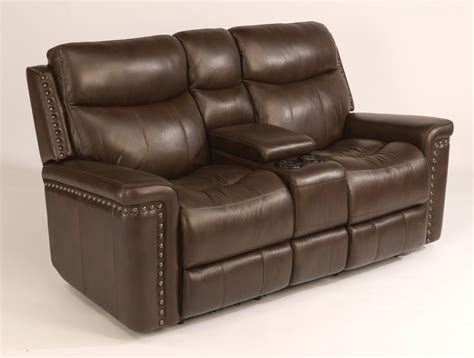 reclining leather loveseat with console flexsteel living room leather power reclining loveseat