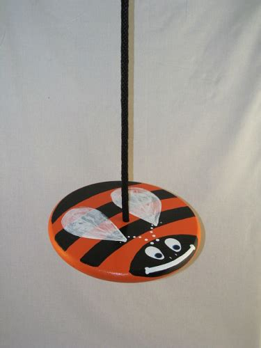 disc rope swing orange bumble bee wood disc swing combo treeswingstore com