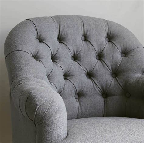 linen armchair linen button back armchair grey or natural by primrose