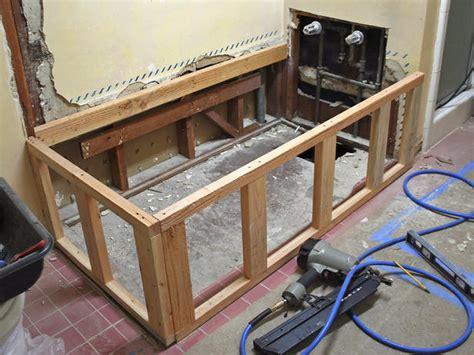 framing a bathtub replacing a bathtub with a deck tub bathroom ideas