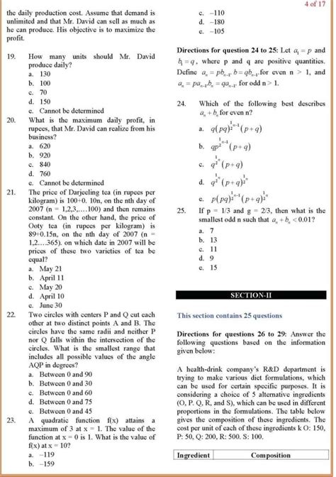 Mba Admission Test Sle Questions by Karnataka Cet
