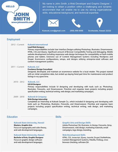 modern resume template information