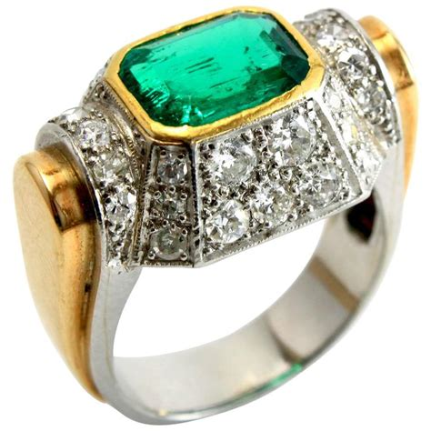 deco architectural emerald gold ring for sale