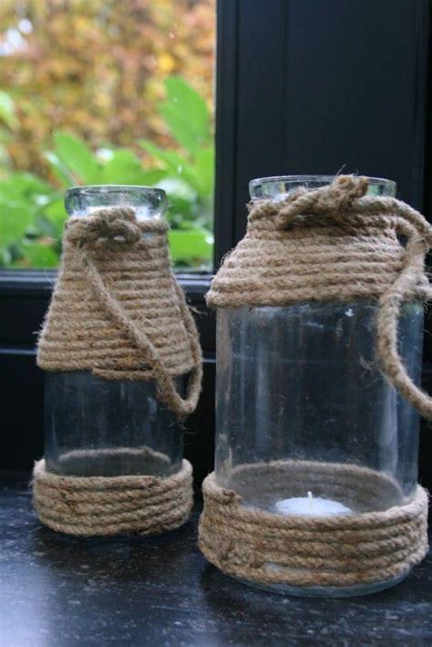 oude salontafel gevlochten glazen pot met stoere look door het gebruik van touw te