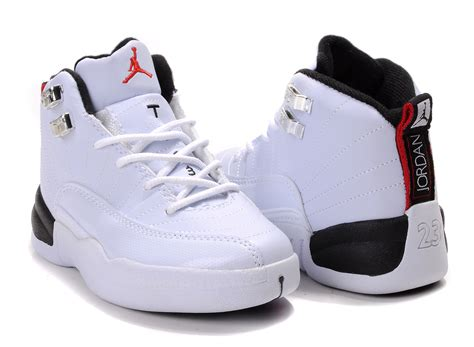white jordans shoes children air 12 white side black sole shoes aj