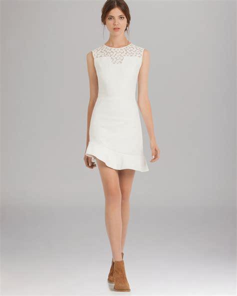 21867 Blackwhite Lace lyst maje dress lace inset asymmetric hem in white