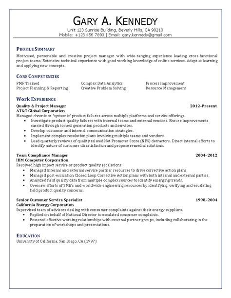 resume cover letter sles for project manager quality project manager resume