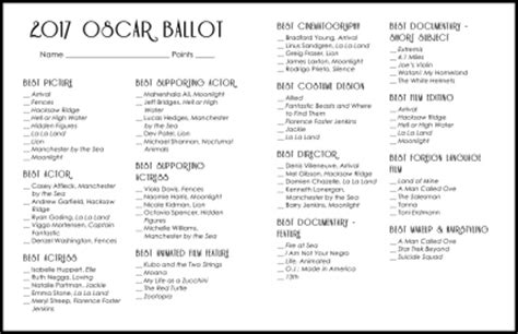 Printable Oscar Ballot 2017