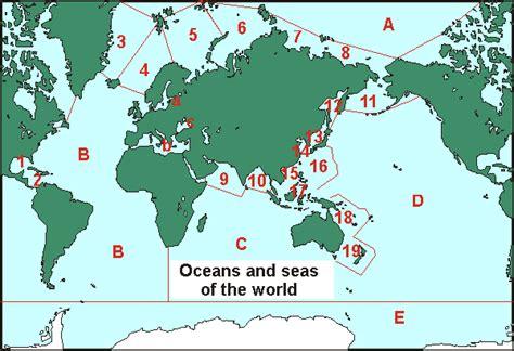world map oceans  seas  travel information