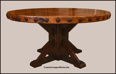 Copper Top Dining Table Rustic Wood Base Concha