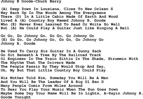 lyrics chuck song lyrics johnny b goode
