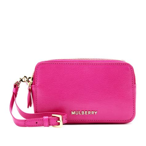 Pink Pouch lyst mulberry leather wristlet pouch in pink