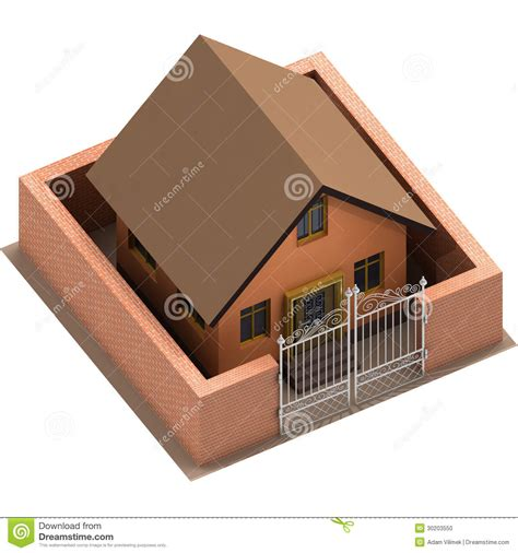 isolated house isolated house with brick wall and closed fence stock photo image 30203550