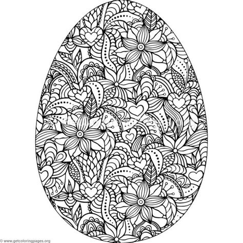 flowers  hearts easter egg coloring