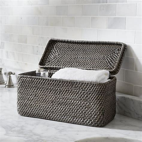 Toilet Paper Holder With Shelf sedona grey lidded rectangular tote crate and barrel
