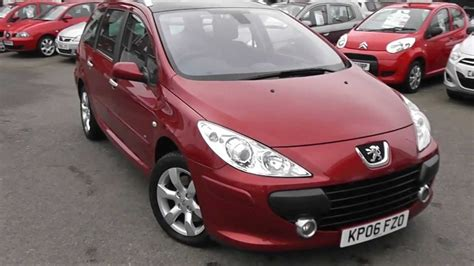 peugeot red used car peugeot 307 sw kp06fzo red wessex garages