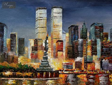 New York Co Nyc Original Size M Abstract New York Skyline At Sunset 16x20 Quot Original