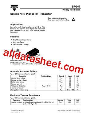 transistor datasheet vishay bfg67 datasheet pdf vishay siliconix