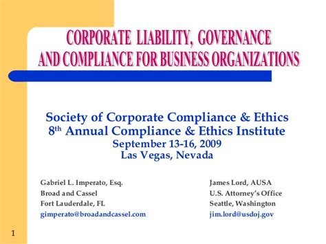 Mba Degree Business Ethics And Corporate Governance by Corporate Liability Governance And Compliance For