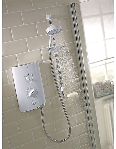 mira sport thermostatic electric shower 9 8 kw white and