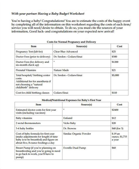 baby budget template baby budget templates 7 free word pdf format