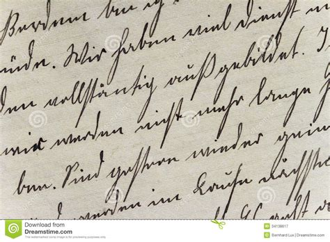 historic handwriting style on made paper stock image
