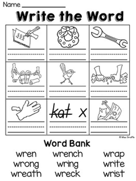 4 Letter Kn Words wr kn gn silent letters worksheets by miss giraffe