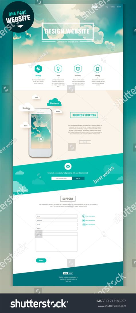 membuat web one page one page website design stock vector 213185257 shutterstock