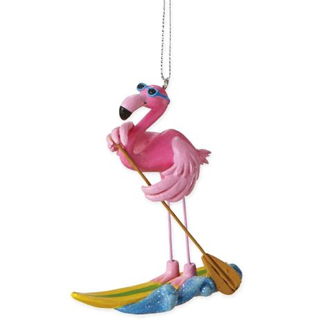 pink flamingo ornaments paddle boarding pink flamingo ornament whyrll