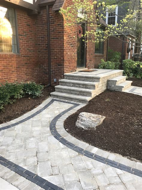 brick paver front walkway higher ground landscaping