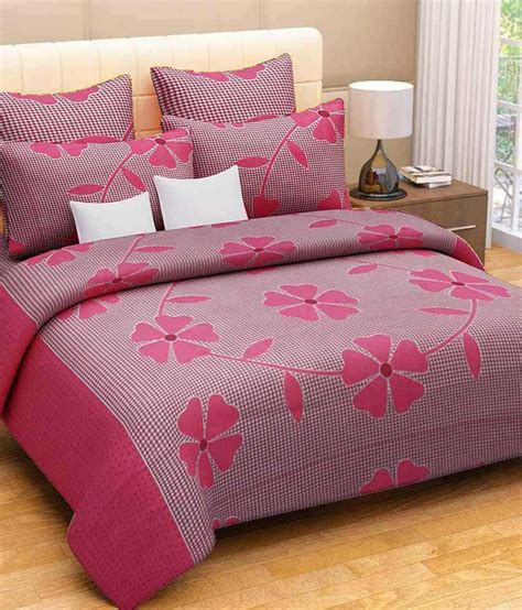 double bed sheets geonature red cotton double bedsheet with 2 pillow covers