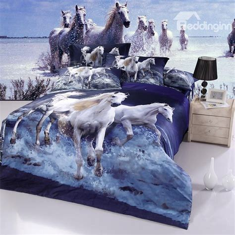 horse bed sheets 100 cotton white horse gallop in water realistic 3d print