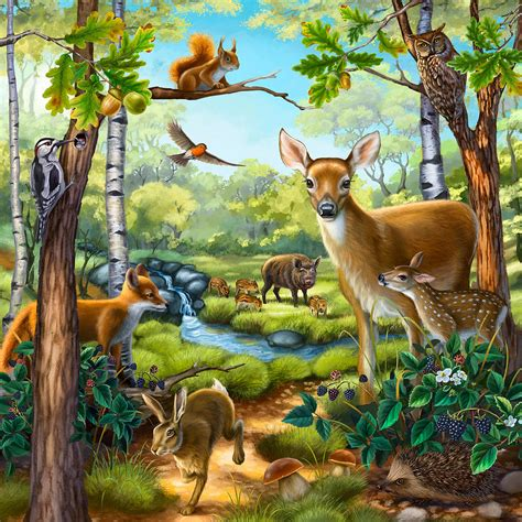 Forest Animals Painting By Anne Wertheim Animal Painting For