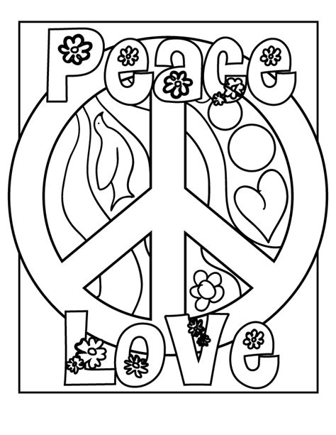 color for peace peace sign coloring pages