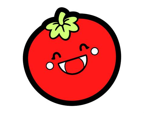 colored page smiling tomato painted by user not registered