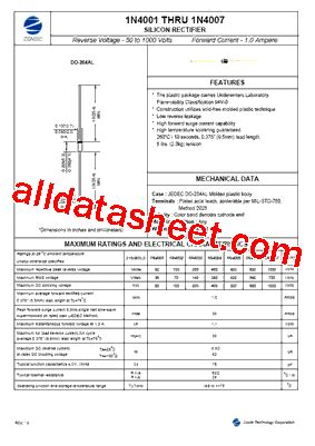 1n4004 mic diode datasheet 1n4004 datasheet pdf zowie technology corporation