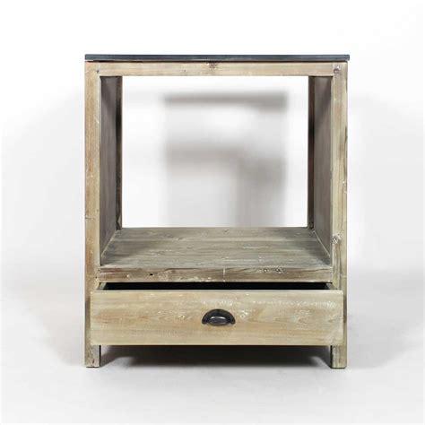 Meuble cuisine bois recyclé 70cm pour four et plaques