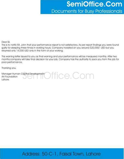 format of a query letter to an employee employee warning letter sle