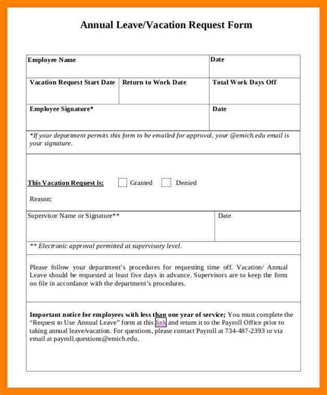 annual leave template form annual leave form sle forms template request 8 exles