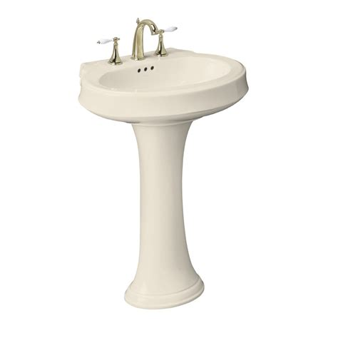 Complete Pedestal Sink Shop Kohler Leighton 36 In H Almond Vitreous China