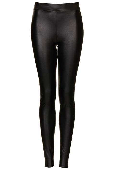 Top Shoo topshop textured leather look in black lyst