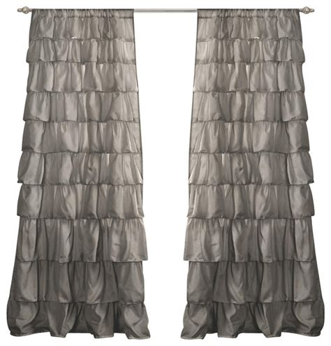Grey Ruffle Curtains Ruffle Gray Window Curtain Contemporary Curtains By Ivgstores