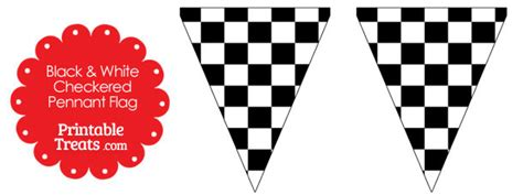 black and white checkered pennant banner flag printable