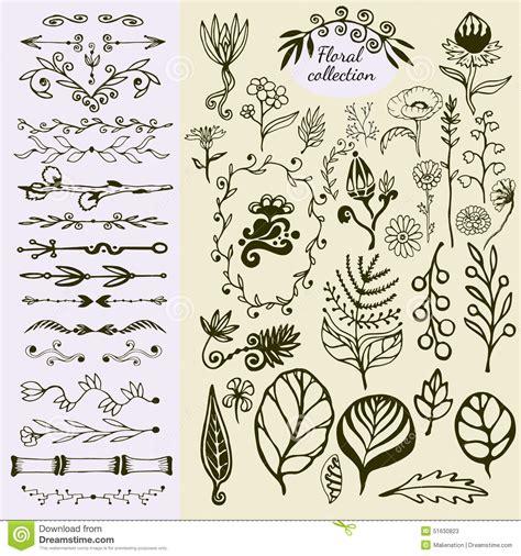 doodle nature vintage floral elements big set of
