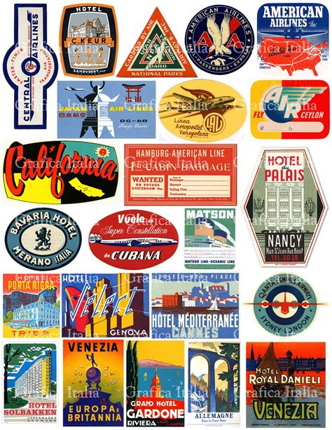 printable vintage stickers travel luggage labels clipart retro digital printable