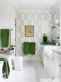 green accent white cottage bathroom