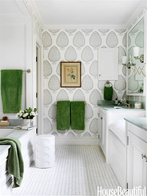 katie ridder wallpaper grey and green bathroom