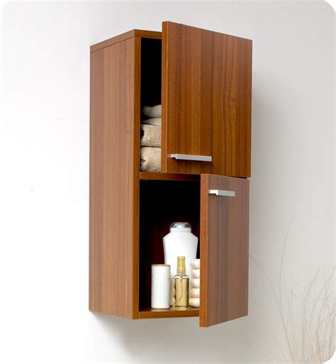 Teak Bathroom Storage 12 5 Quot Fresca Fst8091tk Teak Bathroom Linen Side Cabinet W 2 Storage Areas Side Cabinets