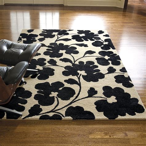 Black And White Area Rugs White Black Poppy Shadows Wool Area Rug Traditional