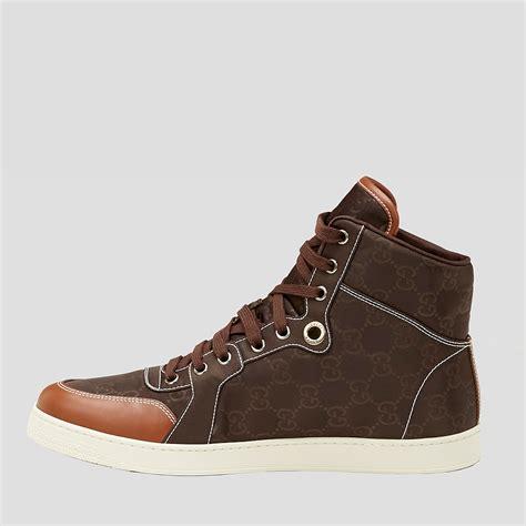 gucci mens high top sneakers gucci mens shoes brown guccissima high top sneakers